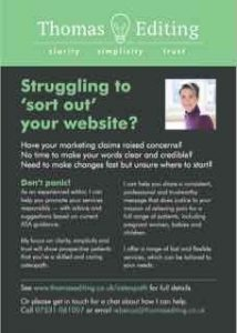 Osteopath struggling to sort out your website advert, as placed in the Osteopath Magazine by Thomas Editing