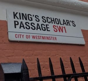 Street sign reading King's Scholar's Passage