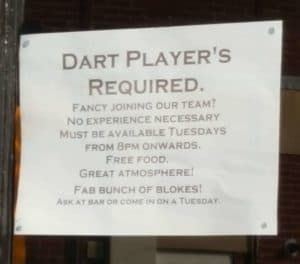 Sign in pub window showing misuse of the possessive apostrophe, reading Dart player's require